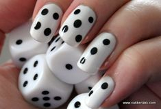 dice, nail polish, make-up, nails, polka dots, patterns, black and white, black, white