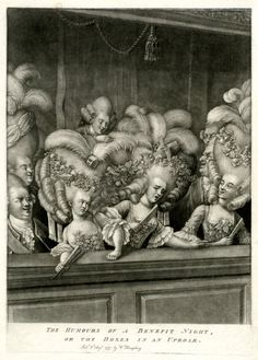 """The Humours of a Benefit Night, or The Boxes In An Uproar. 1777 Mezzotint with some burin."" Posted on britishmuseum.org."