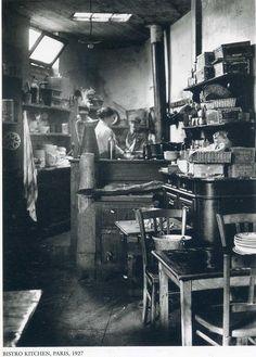 France. Bistro kitchen, Paris, 1927 // by Andre Kertesz