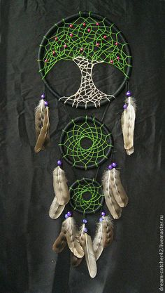 °Tree of Life DreamCatcher by Elizabeth Bathory ~ Купить Ловцы снов … Dreamcatcher Crochet, Los Dreamcatchers, Dream Catcher Art, Beautiful Dream Catchers, Dream Catcher Mobile, Diy And Crafts, Arts And Crafts, Moon Design, String Art