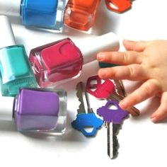 5 Minute DIY, color your keys with Spring nail polish colors! Remove & change with the seasons! (Baby helper not recommended!)