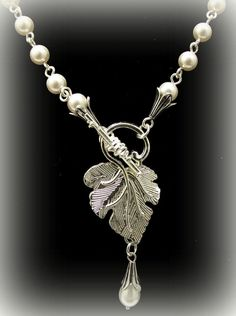 Pearl Necklace with Leaf and Teardrop Focal. by byBrendaElaine, $28.00