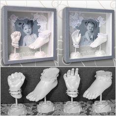 Elegante Zwillings Hand- und Fußabdrücke, Bilderrahmen, grau, mit weiße Spitze, Ivana Irmscher Be happy Gipsabdruck Fürth, www.be-happy-gipsabdruck.de