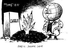 """OÖN-Karikatur vom 15. Jänner 2015: """"Paris, Januar 2015"""" Mehr Karikaturen auf: http://www.nachrichten.at/nachrichten/karikatur/ (Bild: Haitzinger)"""