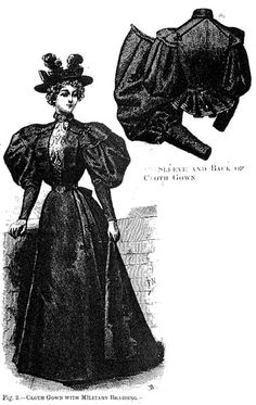Cloth gown with military braiding, Harper's Bazaar- 1895