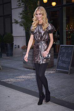 Claudia Schiffer #ClaudiaSchiffer in a Metallic dress  NYC 17/10/2017 http://ift.tt/2zymVc4
