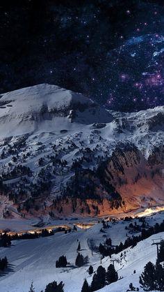 Winter Mountains Landscape Stars iPhone 5 Wallpaper