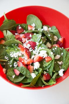 Strawberry Goat Cheese Spinach Salad ~ The creamy goat cheese combined with the sweet vinaigrette makes for an amazing dressing for the spinach and strawberries. | 5DollarDinners.com