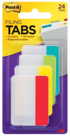 Post-it Tabs, 2-Inch Solid, Assorted Primary Colors, 6-Tabs/Color, 4 Colors, 24-Tabs/Pack Post-It http://www.amazon.com/dp/B004I7HHSO/ref=cm_sw_r_pi_dp_rm6Utb1PVCSVAB7K
