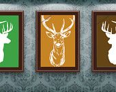 Set of 3 Deer Silhouette Prints - Wall Decor (upgrade available please see below for details)
