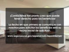 La fecha en que se comunica con nosotros para solicitar beneficios es su fecha inicial. Vea, www.segurosocial.gov/espanol/soliciteporinternet