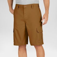Dickies Men's Big & Tall Relaxed Fit Lightweight Duck 11 Cargo Short- Brown Duck 44