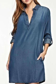 Made from Tencel, this comfortable split neck dress features roll-tab sleeves and pockets. Throw this shirt dress on with your favorite sandals or sneakers for an easy weekend look.   Tencel Shirt Dress by Lovestitch. Clothing - Dresses - Casual Clothing - Dresses - Mini Montauk, The Hamptons, New York
