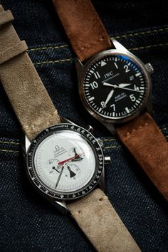 love the tan suede band on the Omega #men #watches