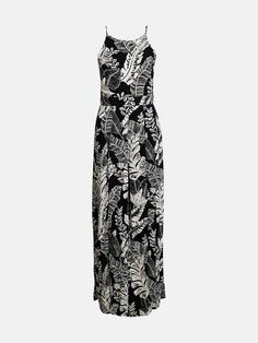 Tropic pattern jumpsuit in viscose weave materiale with slim adjustable straps and high slits in front. Zipper closing in the back. Lined.