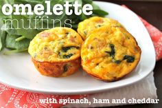 Omelette Muffins with Spinach, Ham, and Cheddar Cheese: whip up 12 omelette muffins in about half an hour--more if you have additional muffin pans. Easy ingredients. Bake for about 20 minutes at 350F. APPETIZER or BRUNCH.