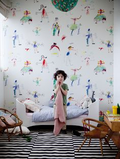 cool kid and cool bed and cool wall paper