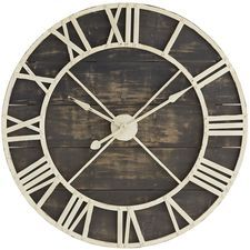 Oversize Black Rustic Wall Clock from pier one
