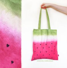 Canvas TOTE BAG Watermelon Bag Pineapple by RachelCorcoranStudio Reusable Shopping Bags, Reusable Tote Bags, Watermelon Bag, Tie Dye Designs, Fruit Print, Pineapple Print, Summer Bags, Canvas Shoulder Bag, Cotton Bag
