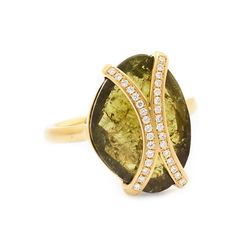 Green Garnet Arc Flow Ring