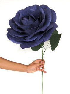 Deep Purple Giant Paper Flower with Flexible Stem - Oversized Purple Paper Rose