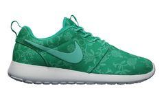 Nike Roshe Run Floral Graphic Womens Green White Sneakers Outlet Sales
