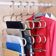 5 Layers Pants Hanger Trousers Towels Hanging Clothes Clothing Rack Space Saver for sale online Wardrobe Closet, Closet Bedroom, Closet Space, Tiny Closet, Diy Bedroom, Dorm Closet, Bedroom Ideas, Trendy Bedroom, Dorm Room