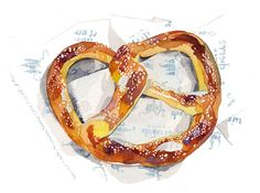 pretzel illustration by holly exley Watercolor Food, Watercolor Illustration, Menu Illustration, Watercolor Ideas, Creative Illustration, Watercolor Painting, Holly Exley, Pinterest Instagram, Drawing Techniques