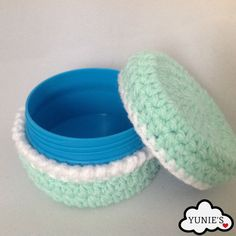 Upcycled Crochet Mint Macaroon Screw Cap Container by Yunie's #HEPTEAM