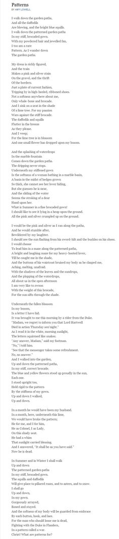 Patterns By Amy Lowell. Inspiration for the cafe, Lowell's Garden.
