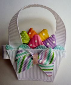 Easter Basket Hair-clip Ribbon Sculpture by TakeABowHandcrafts Ribbon Hair Bows, Diy Hair Bows, Diy Bow, Bow Hair Clips, Ribbon Art, Ribbon Crafts, Band Kunst, Ribbon Sculpture, Diy Hair Accessories