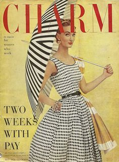 Charm Cover 1954 - Black and White Summer Dress