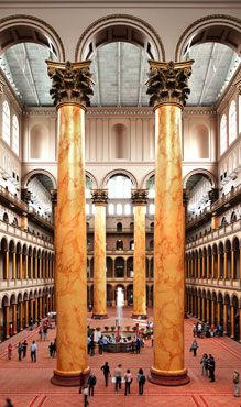 National Building Museum's Great Hall ~ The Museum is America's leading cultural institution devoted to the history and impact of the built environment, telling the stories of architecture, engineering, and design.