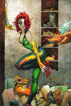 Velocity: Comic Book Art by Kenneth Rocafort One of my favourite comic covers. Love all the different running shoes.