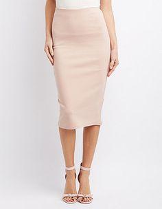 Ponte Knit Pencil Skirt: Charlotte Russe