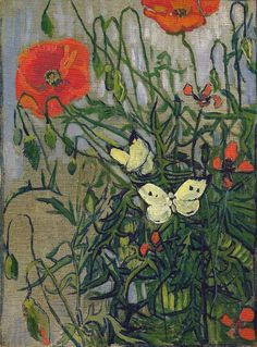 Vincent van Gogh. Poppies and Butterflies.(1890).