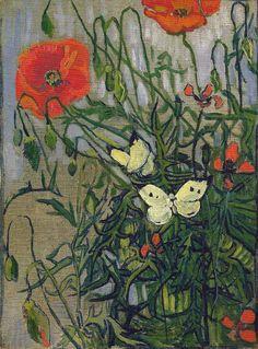 Vincent van Gogh. Poppies and Butterflies.(1890).