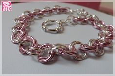 'Rose and Silver Chainmaille Custom Bracelet' is going up for auction at 12pm Fri, Aug 17 with a starting bid of $5.