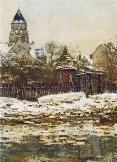 Vetheuil, The Church  in Winter - Claude Monet
