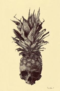 "CRANANAS.  Rémi Andron from France was asked by a friend to reinterpret a tattoo. The name ""CRANANAS"" is a mixture between the two French words: ""crâne"" for skull and ""ananas"" for pineapple. It's drawn with a black ball pen on pale yellow paper."