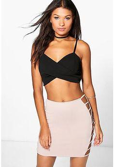 Amaya Cut Work Side Scuba Mini Skirt