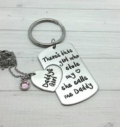 Personalized daddy daughter gift set, father's day gift, daddys girl necklace, theres a girl that stole my heart gift set