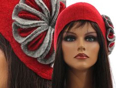 Artsy boho womens winter hat cap, woolen hat cap, lagenlook hat flower / soft boiled wool in red with grey / size M - stretched up to L-XL