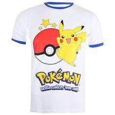 #Pokemon Men's #Pikachu Ringer T Shirt White Royal