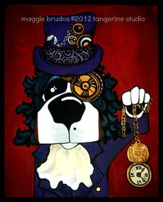 Steampunk Bernese Mountain dog Whimsical ART  by tangerinestudio, $48.00