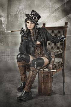 4-way stretch faux leather shiny leggings along with steampunk styled boots, hat, and leg warmers.