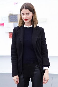 Angela Weber, gallerist | Shirt by Kitsune, jacket by Miu Miu, pants by Rick Owens | Frieze Highlights - The Cut