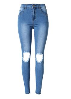 fcdcc8b8f71 Dark Blue Wash Ripped Knees Skinny Jeans Butt Lifting Skinny  Jeans Jeans Sexy Lingeire