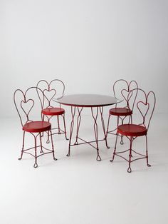 vintage ice cream parlor table and chair set