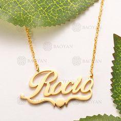 Personalizado Cualquier Nombre Collar de plata esterlina Curvo placa de identificación Trío Corazón